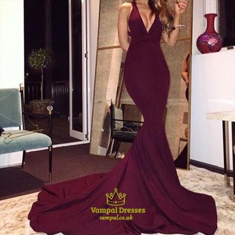 Burgundy Elegant V Neck Open Back Mermaid Prom Dress With Long Train