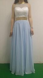 Baby Blue Halter Neck Open Back Floor Length Sleeveless Prom Dress