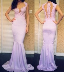 Lilac Illusion Lace Applique Sheer Back Mermaid Long Prom Dress