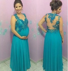 Turquoise Lace Applique Sheer Open Back Long Chiffon Maternity Prom Dress
