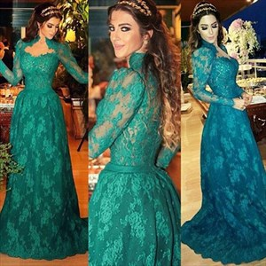 Teal High Neck Long Sleeve Lace Full Length Prom Dress