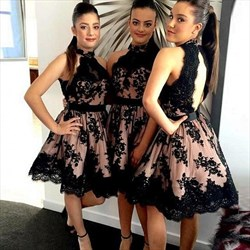 High Neck Halter Lace Applique Open Back Short Bridesmaid Dress