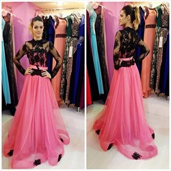 High Neck Sheer Lace Applique Long Sleeve Floor Length Prom Dress