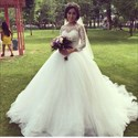 White Lace Embellished Ball Gown Wedding Dresses With Long Sleeves