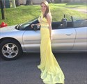 Yellow One Shoulder Beaded Ruched Floor Length Sleeveless Prom Dress