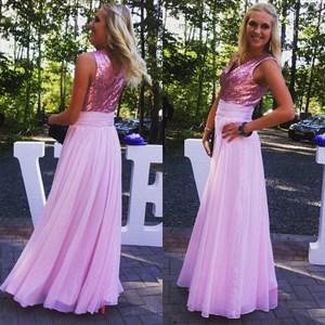Lilac V-Neck Sequin Embellished Bodice Long Chiffon Prom Dress