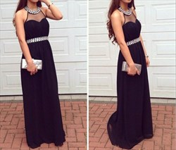 Black Beaded Halter Neck Sleeveless Long Chiffon Evening Dress