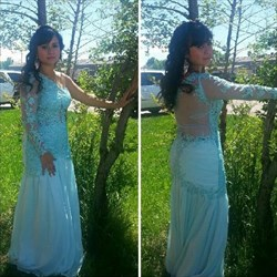 Mint Green One Shoulder Sheer Lace Applique Long Sleeve Prom Dress