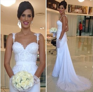 White Spaghetti Strap Lace Bodice Chiffon Wedding Dress With Train