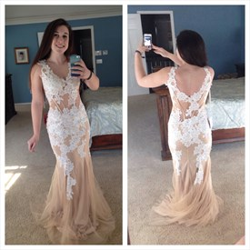 Peach V Neck Backless Sleeveless Lace Applique Mermaid Prom Gown