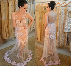 Peach Backless Lace Applique Sheath Prom Dress With Sheer Overlay