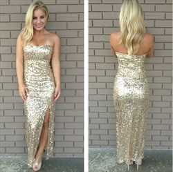 Champagne Strapless Sequin Sheath Long Prom Dress With Split