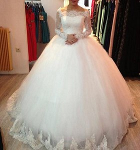 White Off The Shoulder Lace Long Sleeve Ball Gown Wedding Dress