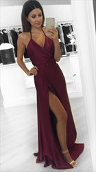 Burgundy Halter Sleeveless V-Neck Backless Side Cut-Out Prom Dress