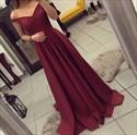 Burgundy V Neck Off The Shoulder A Line Floor Length Prom Dress