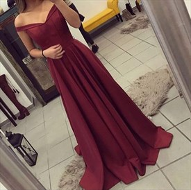 Burgundy V Neck Off The Shoulder A Line Floor Length Prom Dress