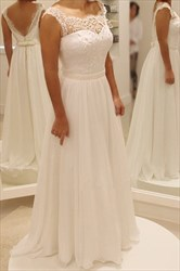 White Embellished Backless Beaded Waist A Line Chiffon Wedding Dress