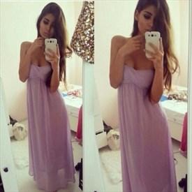 Lilac Strapless Sweetheart Empire Waist Long Bridesmaid Dress