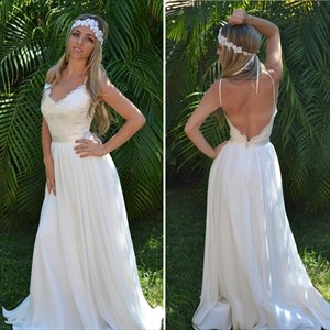 Ivory Spaghetti Strap V Neck Backless Chiffon Long Wedding Dress