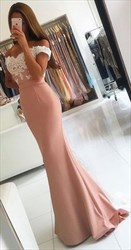 Pink Elegant Off The Shoulder Lace Applique Mermaid Formal Dress