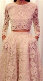 Blush Pink Two Piece Long Sleeve Lace Floor Length Prom Dress