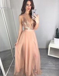 Peach Spaghetti Strap Deep V Neck Backless Sequin Top Prom Dress