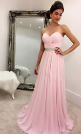 Pink Strapless Criss Cross Bodice Beaded Empire Bridesmaid Dress