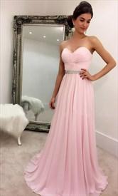 Pink Strapless Criss Cross Bodice Beaded Empire Bridesmaid Dress