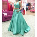 Teal Two Piece V Neck Halter Ball Gown Prom Dress With Pockets