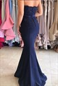 Navy Blue Strapless Lace Embellished Mermaid Bridesmaid Dress