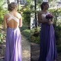 Lilac One Shoulder Beaded Open Back Long Chiffon Prom Dress