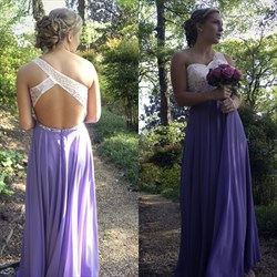 Lilac One Shoulder Beaded Open Back Long Chiffon Prom Dress