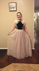 Two Tone Embellished Halter Neck Floor Length Chiffon Prom Dress
