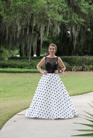 Sheer Illusion Neckline Sequin Top Polka Dot Ball Gown Dress