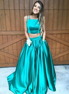 Teal Two Piece Floor Length Ball Gown Prom Dress With Pockets