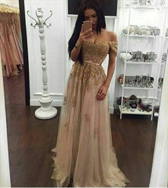 Champagne Off The Shoulder Embellished A Line Floor Length Prom Dress