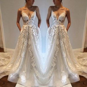 White Spaghetti Strap Backless Sheer Lace Overlay Wedding Dress
