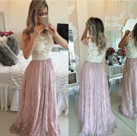 Two Tone Sleeveless Beaded Bodice Lace Long Prom Dresses
