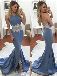 Blue Two Piece Backless Mermaid Embellished Prom Dress With Slit