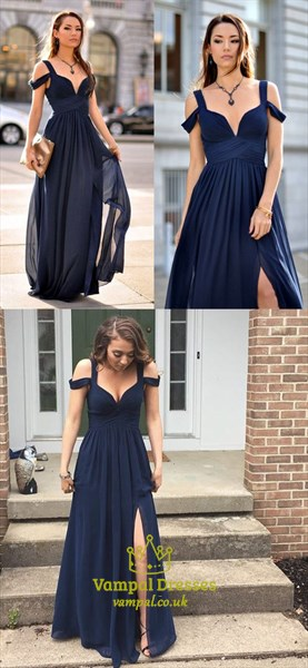 Navy Blue Off The Shoulder Long Prom Dress With Side Cutouts