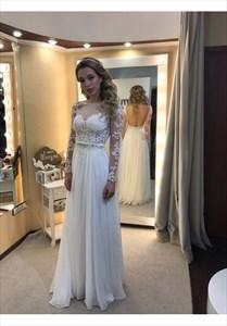Ivory Sheer Lace Long Sleeve Embellished Backless Wedding Dress