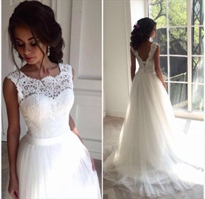 White Lace Embellished Bodice Open Back Ball Gown Wedding Dress
