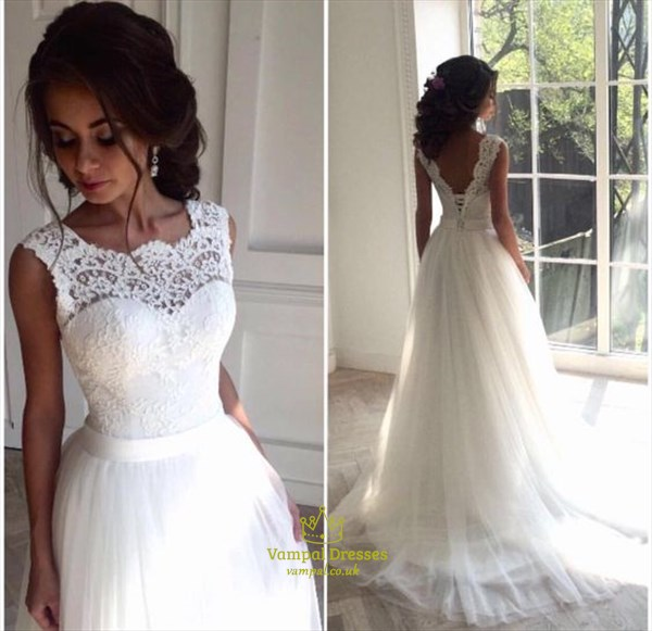 White Lace Embellished Bodice Open Back Ball Gown Wedding Dress Vampal Dresses
