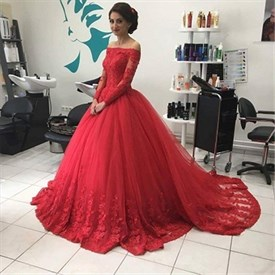 Red Lace Off The Shoulder Long Sleeve Ball Gown Wedding Dress