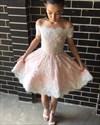 Pink Off The Shoulder Lace Embellished Short Cocktail Dress