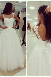White Lace Top Open Back Tulle Ball Gown Wedding Dress