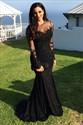 Black Sheer Long Sleeve Lace Applique Floor Length Mermaid Gown