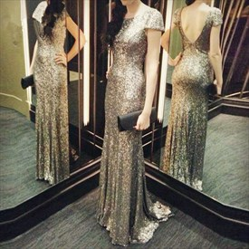 Champagne Short Sleeve Open Back Sequin Floor Length Prom Dress