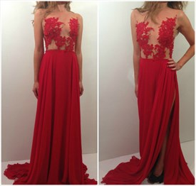 Red Sheer Lace Applqiue Long Chiffon Prom Dress With Side Cutouts