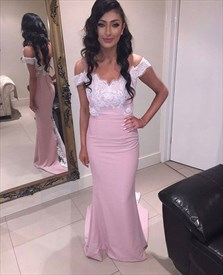 Pink Lace Applique Floor Length Off-The-Shoulder Elegant Dress